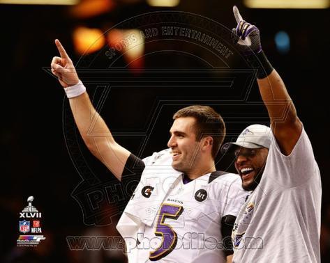 Joe Flacco & Ray Lewis Super Bowl XLVII Celebration Photo