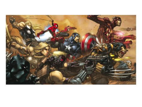 Ultimates No.3 Cover: Captain America Art Print