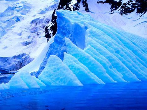 Blue Icebergs, Antarctica Photographic Print