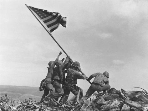 Iwo Jima Flag Raising Photographic Print