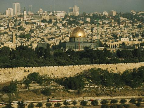 Old Jerusalem, the Dome of the Rock and the Ancient City Wall Photographic Print