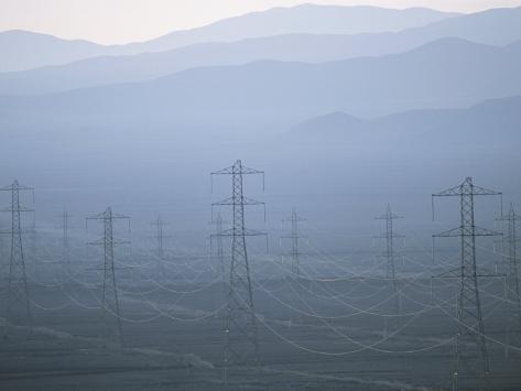 Power Lines Transport Electricity across the Atacama Desert Photographic Print