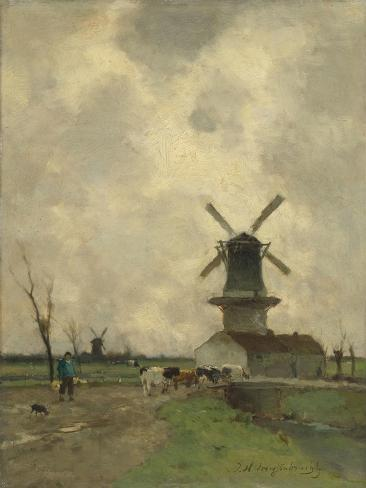A Mill and Some Houses in a Canal, a Farmer with a Yoke on the Shoulders Drives Some Cows Art Print