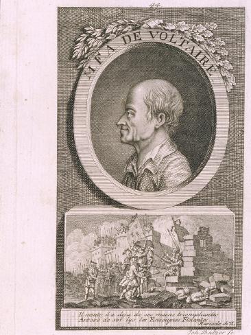 Portrait of the Writer, Essayist and Philosopher Francois Marie Arouet De Voltaire (1694-177) Lámina giclée