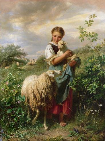 The Shepherdess, 1866 Lámina giclée