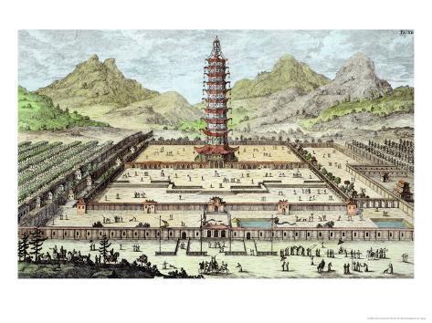 Porcelain Tower of Nanking, Plate 12, Entwurf Einer Historischen Architektur, Engraved Delsenbach Giclee Print