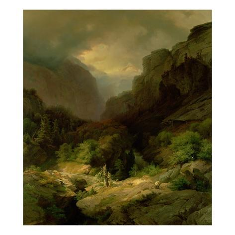 An Alpine Landscape in a Storm Giclee Print