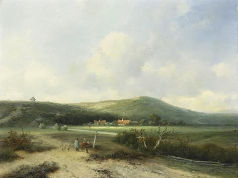 Dune Landscape in the Distance a Few Farms Situated in a Plain at the Foot of a Dune Art Print