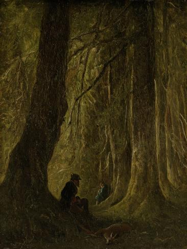 Artist John Tavenraat Sitting under Tall Trees During a Manhunt in the Forest Art Print