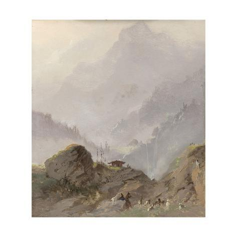 Mountain Landscape in Tyrol with a Shepherd with Goats Art Print