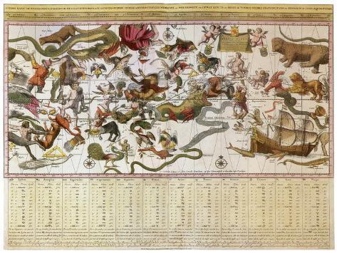 Backer's Star Chart, 1709 Giclee Print