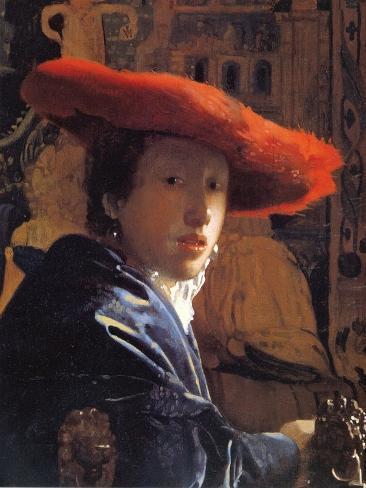 Girl with a Red Hat, C.1665 Lámina giclée