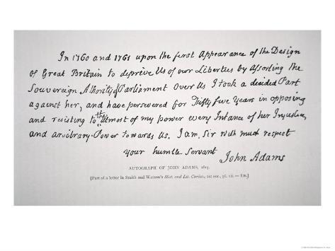 Part of a Letter Written and Signed by President John Adams Giclee Print