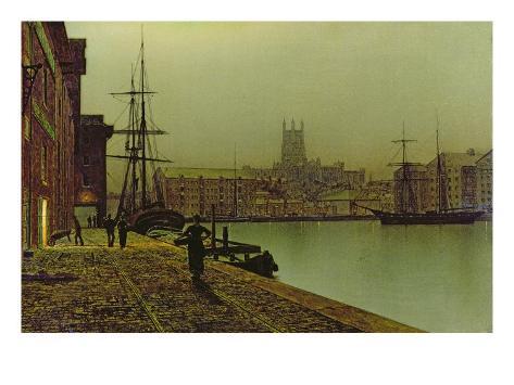 Gloucester Docks, c.1880 Giclée-vedos