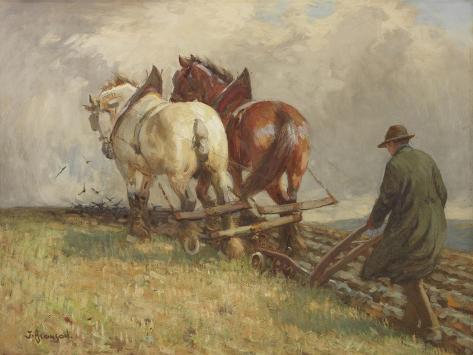 Ploughing, C.1900-19 Giclee Print