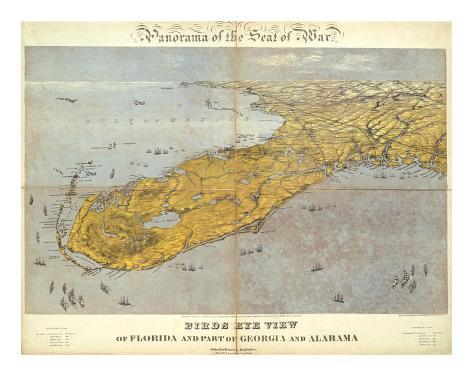 Florida and Part of Georgia and Alabama, c.1861 Art Print