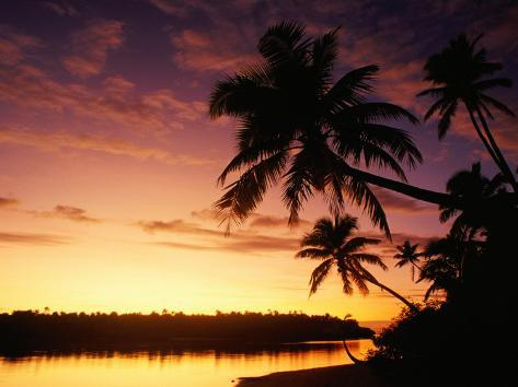 Coconut Palms Over Aitutaki Lagoon, Aitutaki, Southern Group, Cook Islands Photographic Print