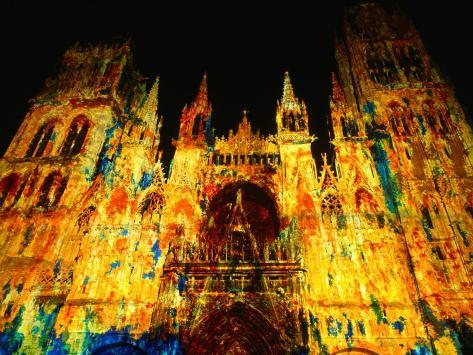 Light Show Projected on Rouen Cathedral, Rouen, France Photographic Print