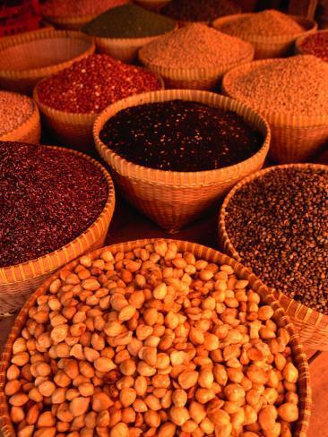 Macadamia Nuts and Beans at Sweta Market, Lombok, West Nusa Tenggara, Indonesia Photographic Print