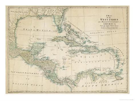 The Caribbean with the West Indies and the Coasts of the United States and the Spanish Possessions Giclee Print