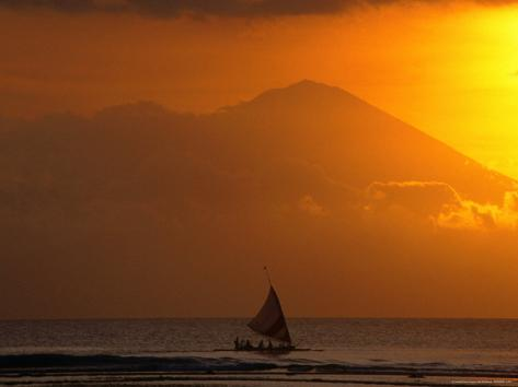 Boat Sailing Past Mt. Agung Across Lombok Strait Gunung Agung, Bali, Indonesia Photographic Print