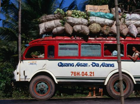 Bus Carrying Load and Passengers, Vietnam Photographic Print