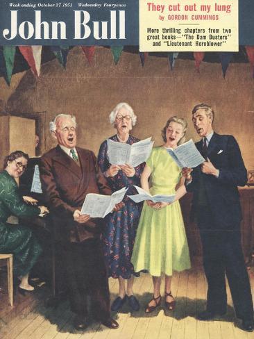 John Bull, Singing, Choirs Practice, the Villages Halls Magazine, UK, 1951 Giclee Print