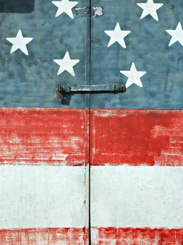 Costa Rican Flag Painted on Door, Costa Rica Photographic Print