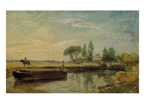 A Barge Below Flatford Lock, c.1810 Giclee Print