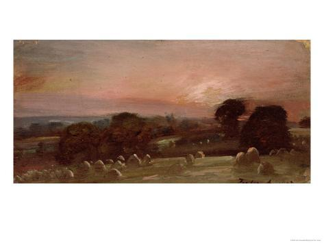 A Hayfield Near East Bergholt at Sunset Giclee Print