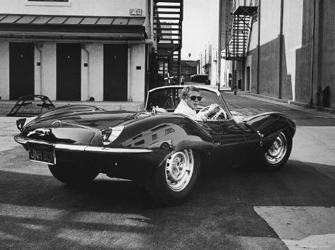 Actor Steve McQueen Driving His Jaguar Premium Photographic Print