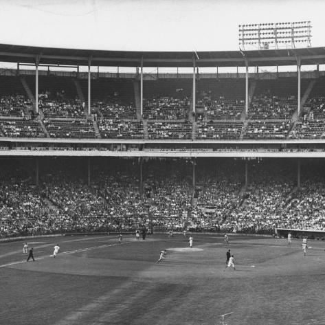 Large Crowd of People Watching the Action of Dodger-Cubs Game Fat Wrigley Field Photographic Print
