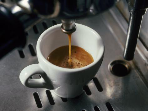 Machine Pouring Cup of Espresso Photographic Print