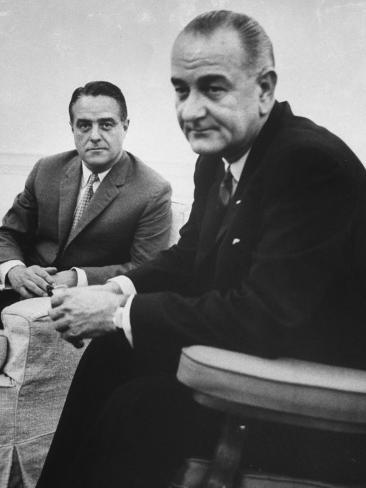 Peace Corp. Head Sargent R. Shriver Jr. and President Lyndon B. Johnson Photographic Print