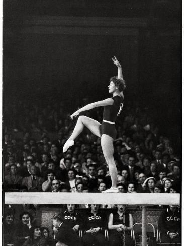 Russian Gymnast Larisa Latynina Competing On The High Beam In Olympics