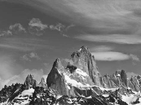Spectacular Peaks of Fitzroy Massif with Snow, Glaciers and Clouds Photographic Print