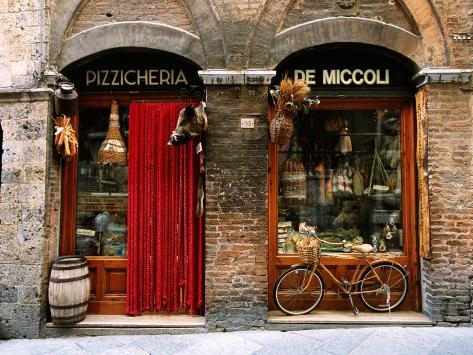 Bicycle Parked Outside Historic Food Store, Siena, Tuscany, Italy Photographic Print