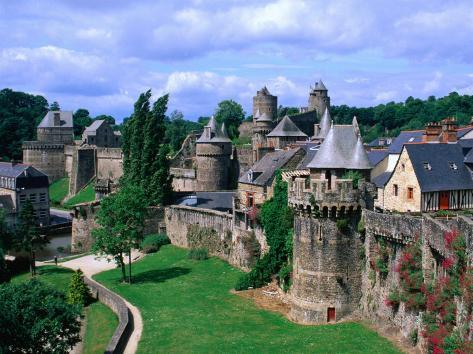 Fortified Walls of Stone, Chateau at Fougeres, Fougeres, France Photographic Print