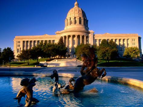 Fountain in Front of Missouri State Capitol Building, Jefferson City, Missouri Photographic Print