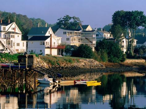 Houses along Boothbay Harbor, Boothbay, Maine Photographic Print