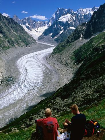 Montenvers Mer de Glace with Hikers, Chamonix, Rhone-Alpes, France Photographic Print