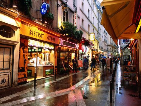 Qaurtier , Latin Quarter at Night, Rue de la Huchette, Paris, Ile-De-France, France Photographic Print