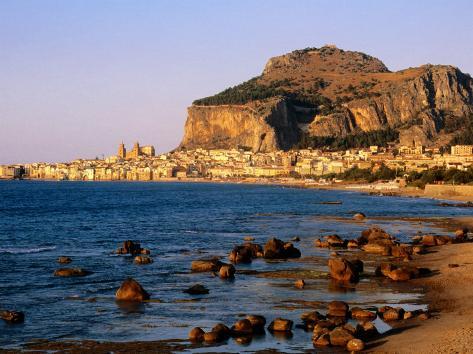 Seaside Resort From Across Sea, Cefalu, Italy Photographic Print