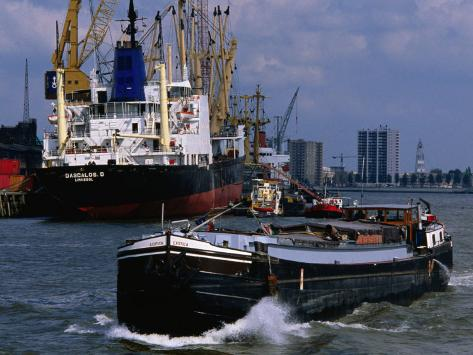 Ships in Rotterdam Harbour, Rotterdam, South Holland, Netherlands Photographic Print