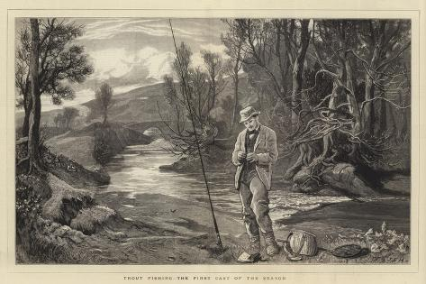 Trout Fishing, the First Cast of the Season Giclee Print
