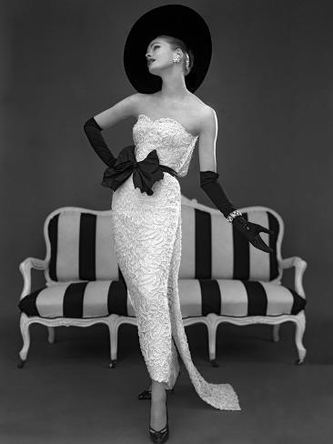 Model in John Cavanagh's Strapless Evening Gown, Spring 1957 Giclee Print