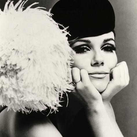 Nicole de la Marge in a Peter Shepherd Velvet Cap, 1965 Giclee Print