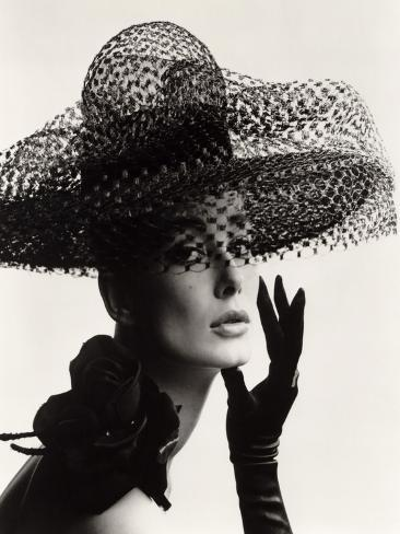 Tania Mallet in a Madame Paulette Stiffened Net Picture Hat, 1963 Giclee Print