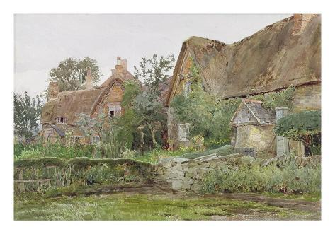 Thatched Cottages and Cottage Gardens, 1881 (W/C and Graphite on Paper) Stampa giclée