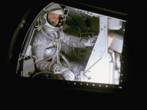 John Glenn in Mock Space Capsule During Training. Langley Research Center, Virginia Stretched Canvas Print